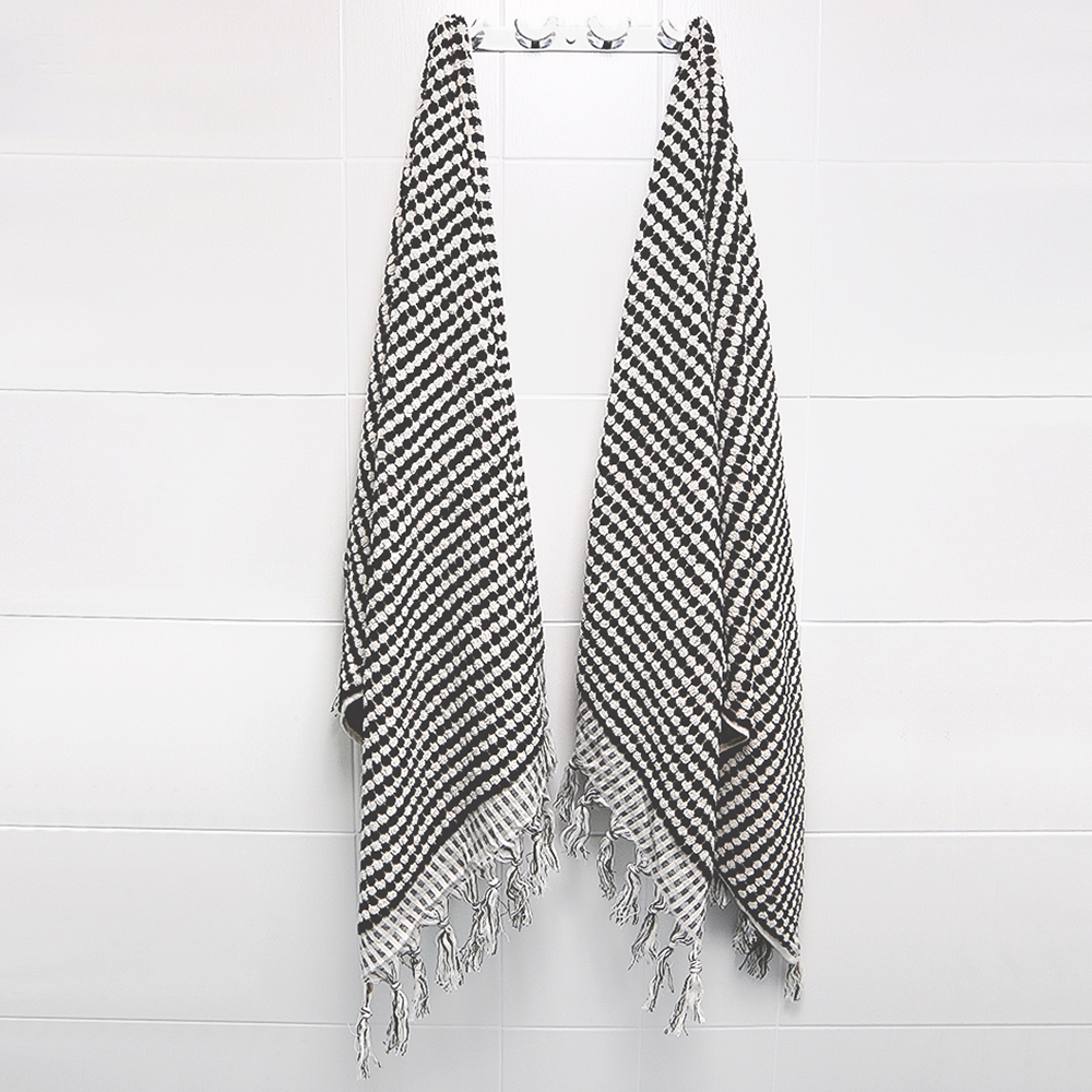 Beautiful Pom Pom Turkish Towel – Black and White – GABE & NIX EN47